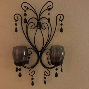 Black iron double candle holder for your wall.
